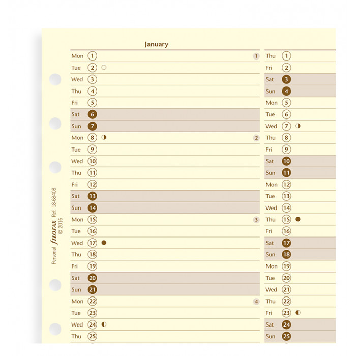 Planning annuel vertical - anglais
