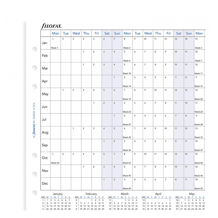 Planning annuel horizontal - anglais